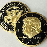 Limited Edition Donald Trump 24kt Gold Plated w/Black inlay Presidential EAGLE novelty coin 30mm