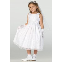 Girls Embroidered Organza Lace First Communion Dress 6-12