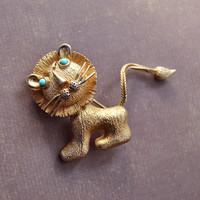 Vintage Lisner, Gold Tone Lion Brooch Pin, Faux Turquoise, Womens Estate Animal Nature Jewelry, Wife Girlfriend Mom Sister Daughter Gift Her