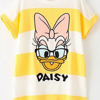 Yellow White Striped Donald Duck Print Short Sleeve T-Shirt