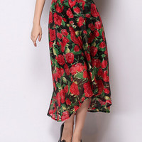 Red Floral Belted Asymmetrical A-Line Maxi Skirt