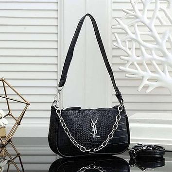 YSL Yves Saint Laurent Fashion Ladies Crocodile Pattern Chain Bag One Shoulder Messenger Bag Cosmetic Bag Coin Purse Mobile Phone Bag