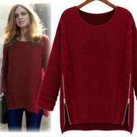 Double Side-Zipper Knitted Sweater