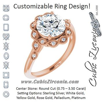 Cubic Zirconia Engagement Ring- The Makayla Belle (Customizable 3-stone Design with Round Cut Center and Halo Enhancement)