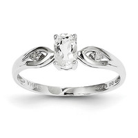 14k White Gold White Topaz Diamond Ring: RingSize: 4