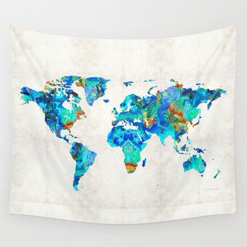 World Map 22 Art by Sharon Cummings Wall Tapestry by Sharon Cummings