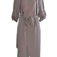Women Rolled Up Sleeve Belt Waist Waterfall Cape Taupe One Size (8-14)