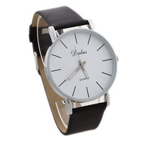 Mens Womens Classic College Style Leather Strap Mrist Watch Gift