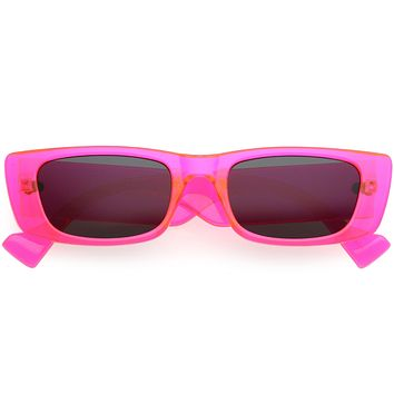 Go Pink! Neon Retro Wide Square Flat Lens Chunky Rectangle Sunglasses D264