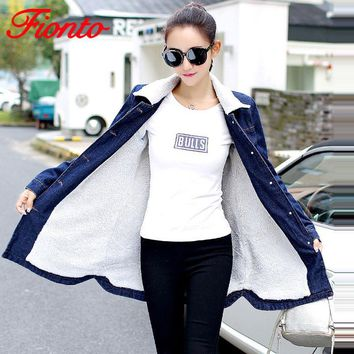 Trendy New Autumn Winter Denim Jacket Lambswool Basic Coat For Women Long Sleeve Warm Fleece Casual Single Breasted Bomber Jacket A6150 AT_94_13
