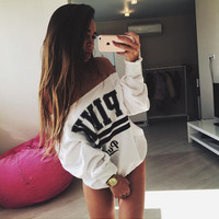 """White """"Pink"""" Letter Print Long Sleeve Sweater"""