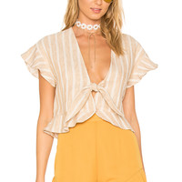Tularosa x REVOLVE Winnie Blouse in Natural Stripe Linen | REVOLVE