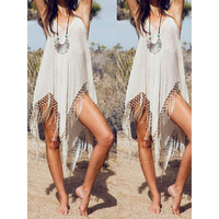 Tassels Sling Dress Maxi dress Stylish Sleeveless Fringe Embellished Asymmetrical Women's Dress