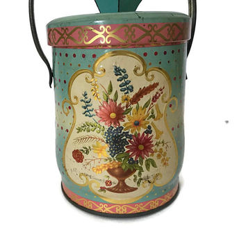 Vintage Tin Box Regal Crown Murray Allen Confection Candy Tin Lid and Handle Storage Polka Green and Peach Floral Metal Box Shabby Chic