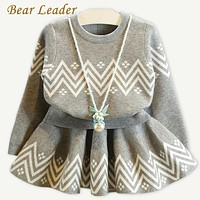 Girls Dress Geometric Pattern Dress Long Sleeve Girls Clothes Top Coat+ Tutu Dress Sweater Knitwear