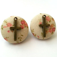 Vintage inspired floral cross rockabilly fabric button earrings