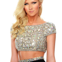Precious Formals P61019 Jeweled Cap Sleeve Two Piece Prom Dress