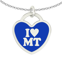 I Love Montana Sterling Silver Heart Necklace