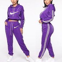 NIKE fashion casual sports suit new women's monogrammed two-piece set