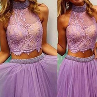 Purple Halter Lace Short Cute Homecoming Cocktail Dresses K431