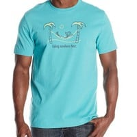 Life is good Men's Crusher Going Nowhere Fast Tee, Teal Blue, Large