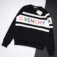 GIVENCHY Fashion Women Casual Rainbow Letter Embroidery Round Collar Sweater Sweatshirt