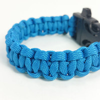 Paracord Bracelet - Survivalist, Military Inspired, Cobra Knot, Blue 550 Paracord with 3/4in Black Buckle with Built-In Rape Whistle