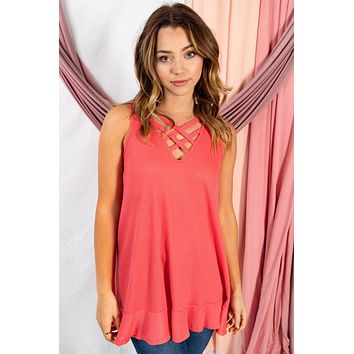 Pleasant Surprise Coral Sleeveless Strappy Top