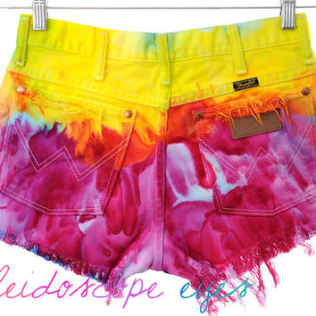 Vintage Wrangler COLORFUL Marbled Tie Dyed Denim High Waist Cut off Shorts S M