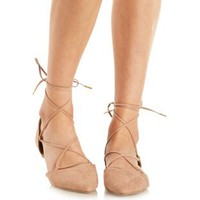Taupe Lace-Up Pointed Toe D'Orsay Flats by Qupid at Charlotte Russe