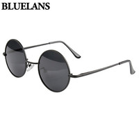 Retro Men Women Round Metal Frame Sunglasses Black Lens