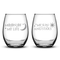 Premium Wine Glasses, Game of Thrones, Moon of My Life, My Sun and Stars, 15oz (Set of 2)