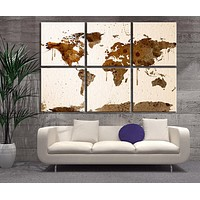 Large Canvas Print 6 Panel Watercolor World Map Extra Large Wall Art Watercolor World Map Print