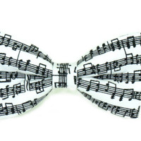 Musical Notes / Sheet Music Musician Clip On Bow Tie Bowtie