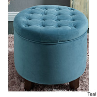 HomePop Large Round Button-Tufted Storage Ottoman | Overstock.com Shopping - The Best Deals on Ottomans
