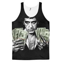 Scarface Tony Montana Al Pacino Drug Trade Lord Cocaine Miami Country Money Dye Sublimation All Over Print 3D Full Print Cotton Polyester Unisex Novelty Green Black & White Tank Top
