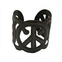 Steel Oil Drum Peace Cuff - Croix des Bouquets