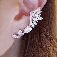 Angel's Wing Full Rhinestone Ear Cuff (Single, NO Piercing)
