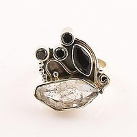 Herkimer Diamond & Black Onyx Sterling Silver Ring