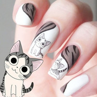 One Sheet Gray and White Cat Pattern Nail Art Sticker