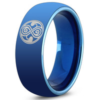 Dr Who Blue Tungsten Dome Cut Ring