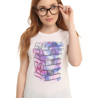 Read All The Books Galaxy Watercolor Girls T-Shirt