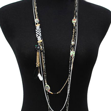 Black Boho Print Plate And Feather Pendant Beaded Layer Necklace