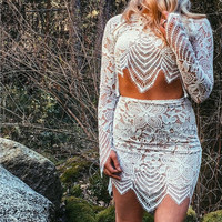 Fashion Long sleeved sexy Lace Tops