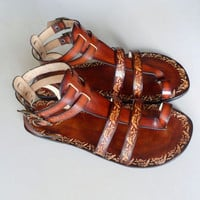 Handcrafted Women Men Gladiator Sandals With Pattern  by Calpas