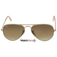 Ray Ban Aviator Matte Gold Brown 55 mm Sunglasses RB3025-11285-55