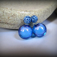 Blue Crystal pave Double Sided Earrings, glass bubble Stud earring,bubble earring, ball double earring,Ear Jacket, ball stud earring