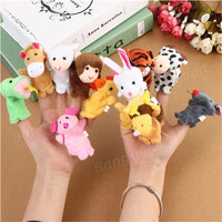 12PCs Family Finger Puppets Cloth Doll Baby Educational Hand Toy Stuffed Soft Toys Cute 12 Animal Toy Doll For Kids Toy