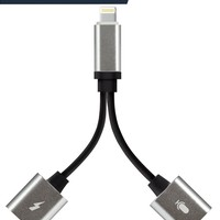 LABOL 2 in 1 iPhone 7/7 Plus/8/8 Plus/X Headphones Jack Double Lightning Adapter/Converter Support iOS 11,Listen to Music with Favorite Headphone and Charge Your iPhone at the Same Time, Silver
