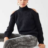 UO Fuzzy Cold-Shoulder Sweater   Urban Outfitters
